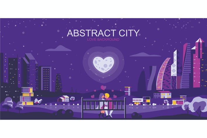 Cover Image For Love City Vector Illustration Header Website
