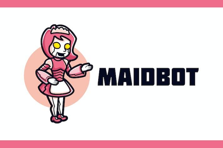 Thumbnail for Cartoon Girl Robot Maid Mascot Logo