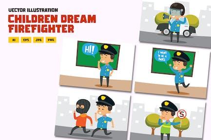 Children being police officer