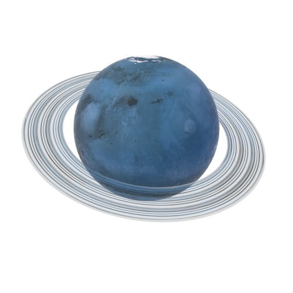 Fictional Blue Planet With Ring