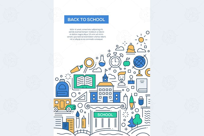 Cover Image For Back to School - line design brochure poster