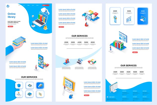 Online Library Isometric Landing Page Template