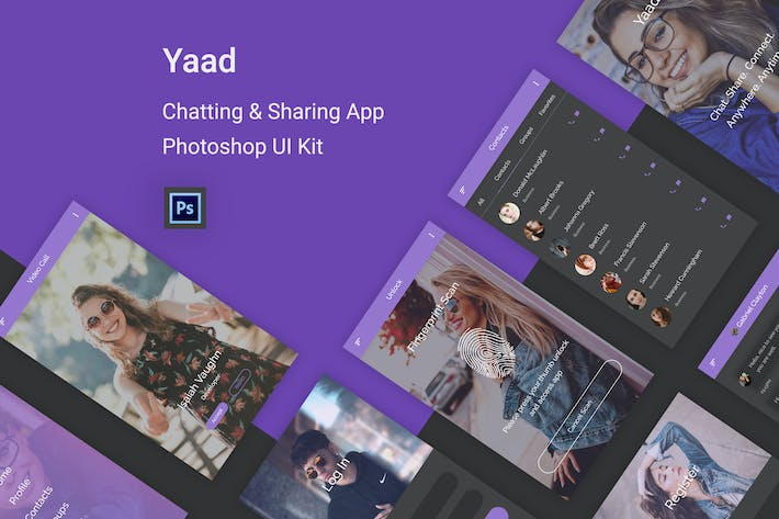 Thumbnail for Yaad - Chatting & Sharing UI Kit in Photoshop