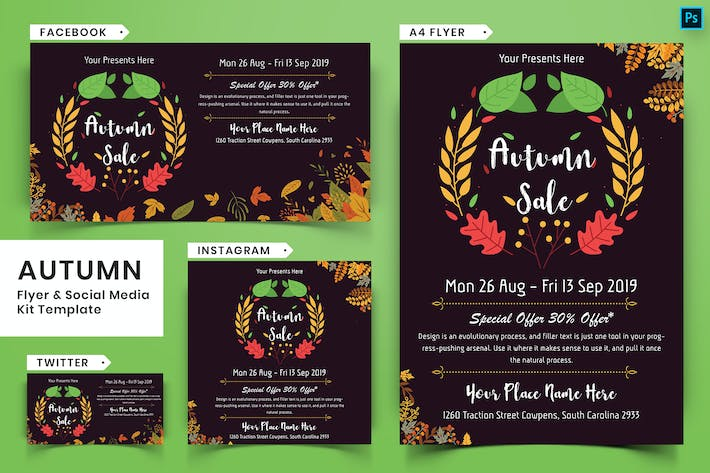 Thumbnail for Autumn Festival Flyer & Social Media Pack-20