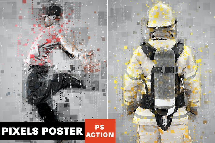 Thumbnail for Pixels Poster Photoshop Action