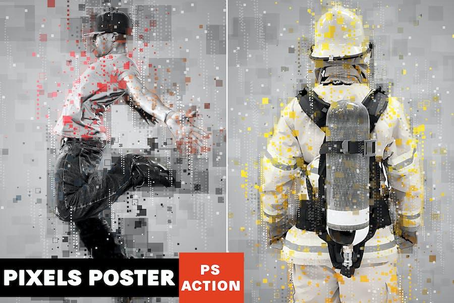 Pixels Poster Photoshop Action