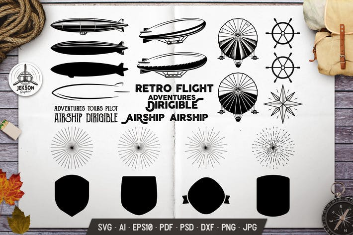 Thumbnail for Vintage Airplane Elements Bundle. Vector Graphics