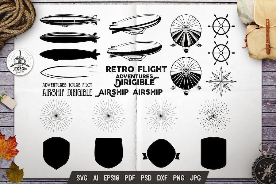 Vintage Airplane Elements Bundle. Vector Graphics
