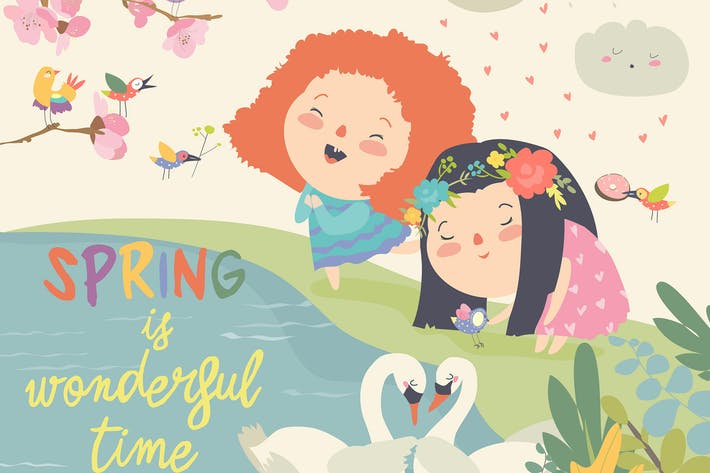 Thumbnail for Cute little girls and birds playing in the spring