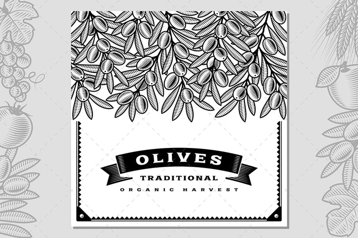 Cover Image For Retro Olive Harvest Card Black And White