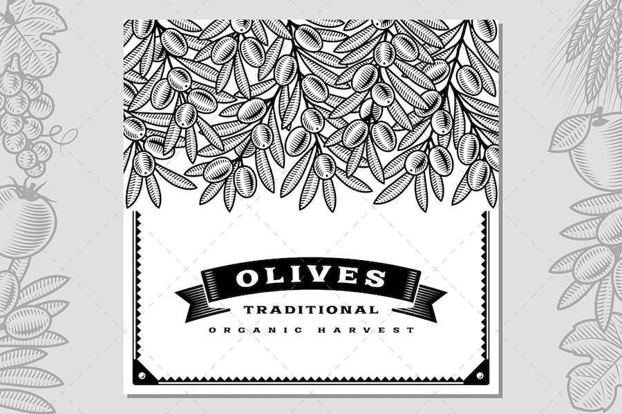 Retro Olive Harvest Card Black And White