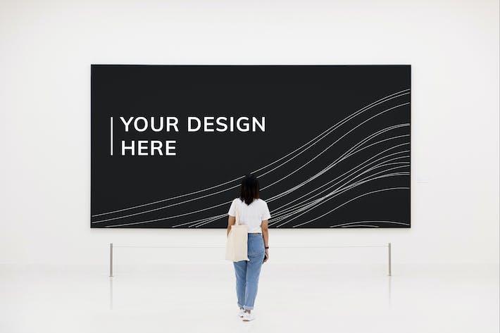Thumbnail for Woman looking at signboard mockup
