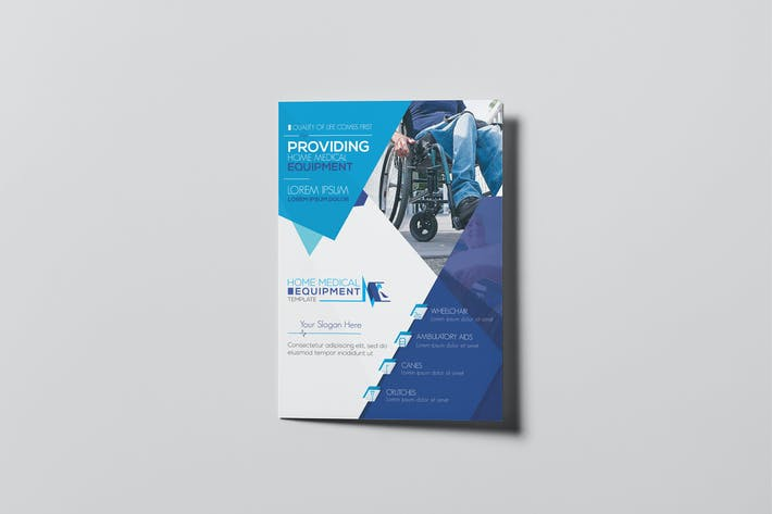 cover image for home medical equipment a5 brochure template