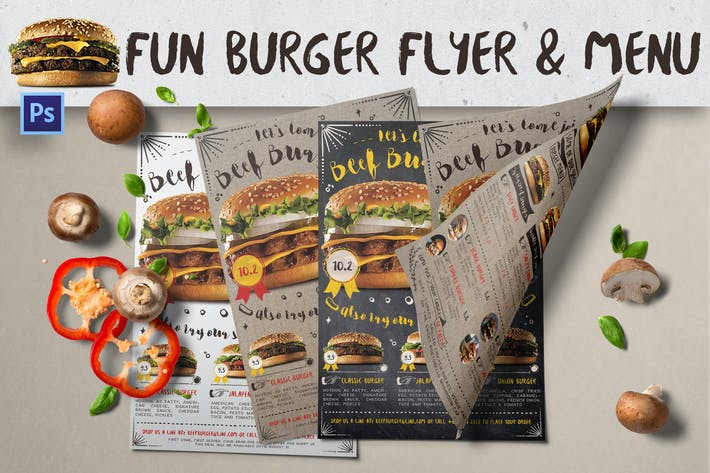 Thumbnail for Fun Burger dépliant & Menu