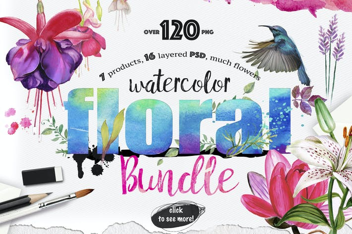 Cover Image For Watercolor Bundle over 120 PNG