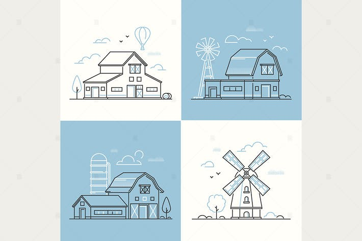 Thumbnail for Farm life - set of line design style illustration