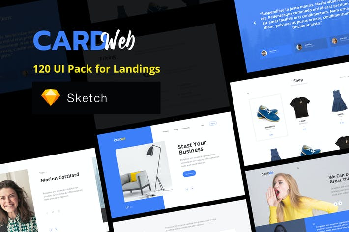 Thumbnail for Web UI Card Pack Landing Pages - Sketch Version