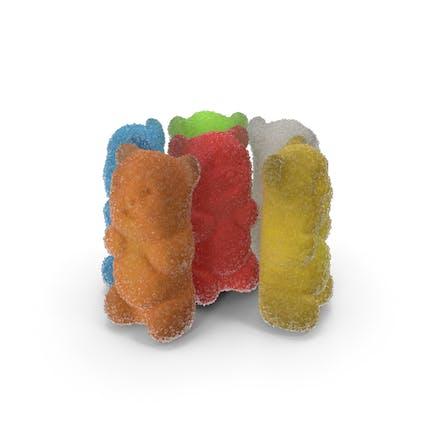 Kleiner Haufen Zucker beschichtete Gummibärchen