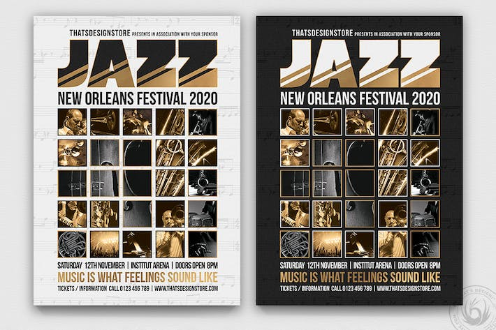 Thumbnail for Plantilla de Folleto del Festival de Jazz V9