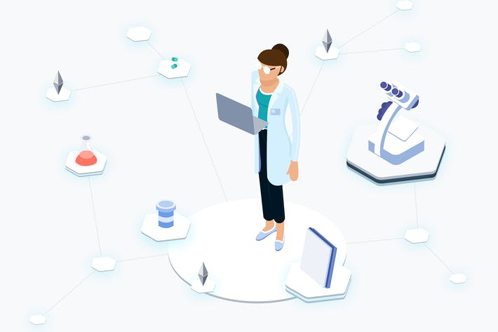 Thumbnail for Health Blockchain Platfrom Isometric