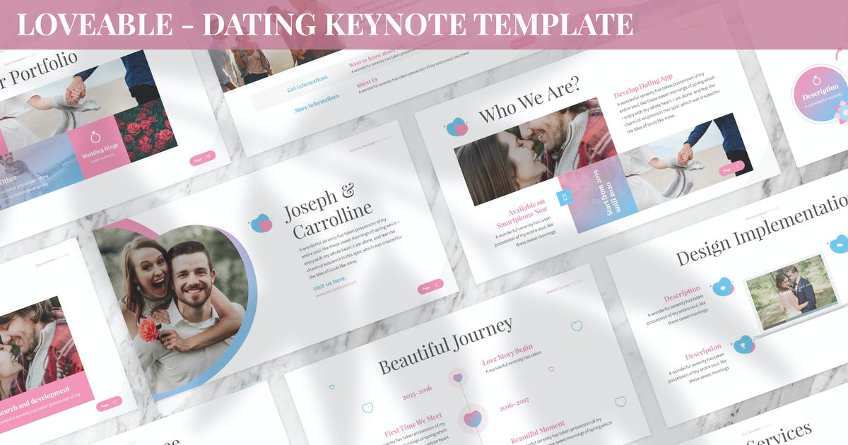 Download Loveable - Dating Keynote Template by SlideFactory