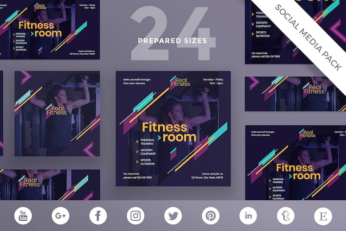 Thumbnail for Fitness Gym Social Media Pack Template
