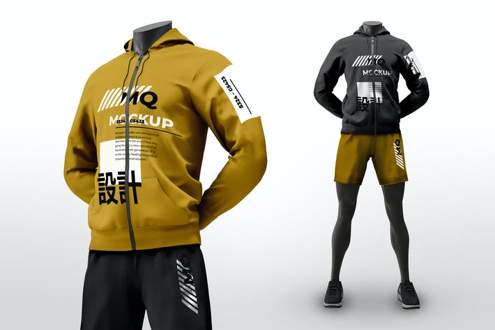 Thumbnail for Male Mannequin with Hoodie Mockups