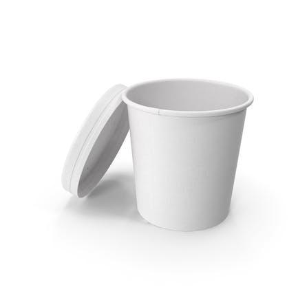 Taza de papel blanco con tapa ventilada, cubo de helado desechable, 450 ml, abierto