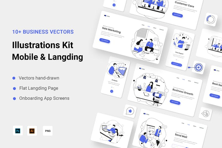 Thumbnail for Trousse d'illustration de la ligne de marketing d'entreprise Vecteur