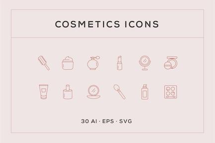 Cosmetics Line Icons