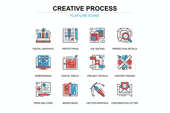 Thumbnail for Thin line creative process icons set