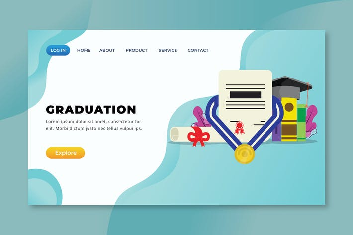 Thumbnail for Graduation - XD PSD AI Vector Landing Page