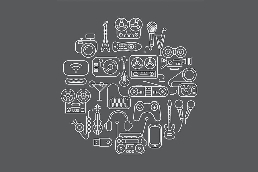 Entertainment Icons round shape vector artwork