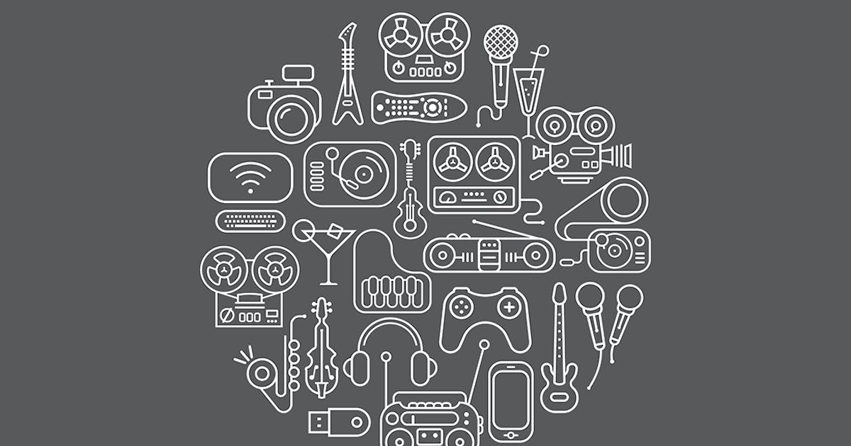 Download Entertainment Icons round shape vector artwork by danjazzia