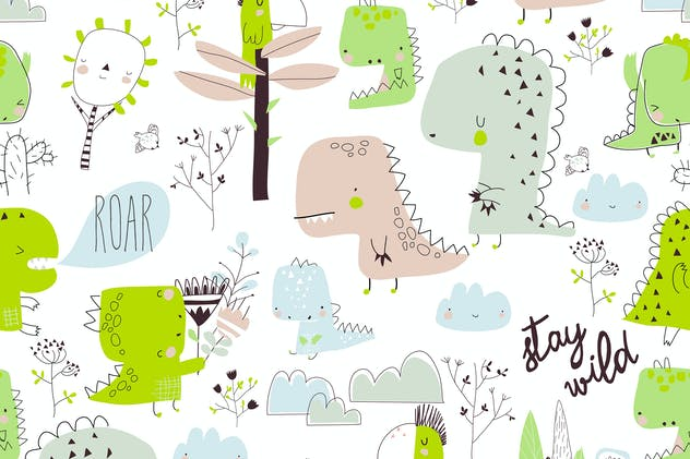 Vector seamless pattern with cartoon dinosaurs