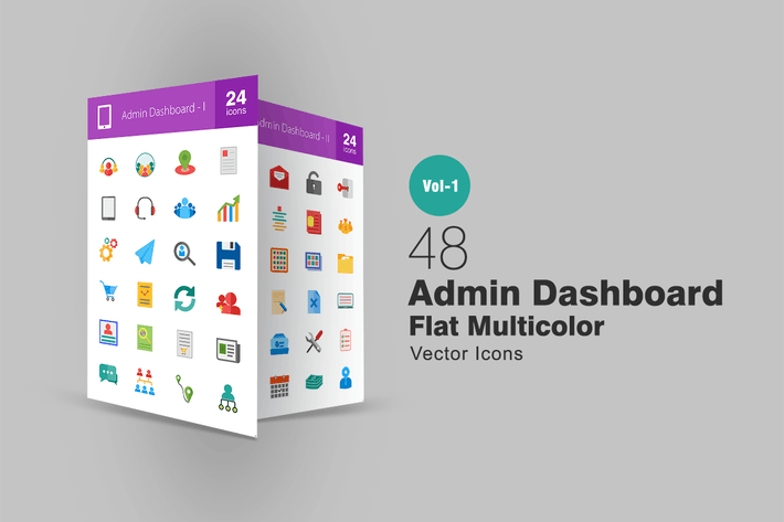 Thumbnail for 48 Admin Dashboard Flat Multicolor Icons