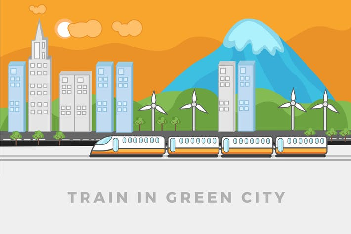 Thumbnail for Train walking in green city