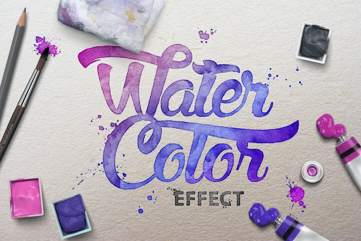 Thumbnail for Watercolor Scene Text Mockups