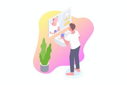 Smart Mirror Isometric Illustration