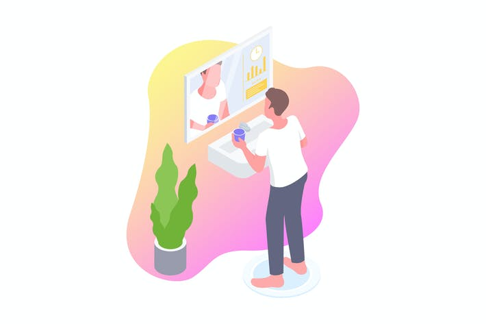 Thumbnail for Smart Mirror Isometric Illustration