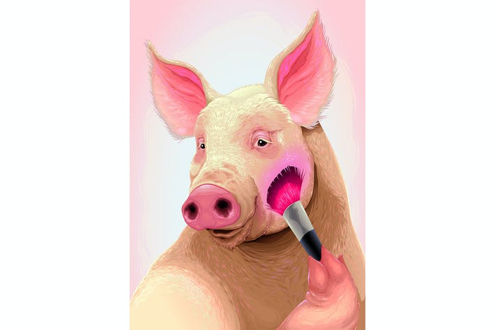 Thumbnail for Pig is Applying the Blush on her Cheek