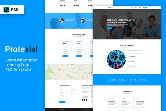 Thumbnail for StemCell - Landing Page PSD Template