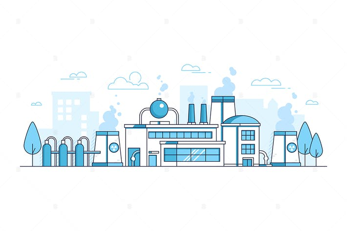 Thumbnail for City factory - thin line design style illustration