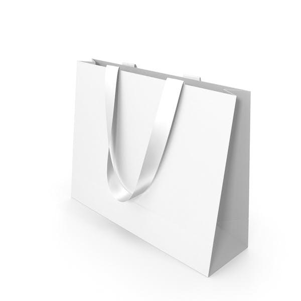 Белая бумажная сумка с белыми ручками