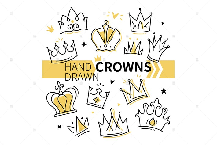 Thumbnail for Hand drawn crowns collection - set of element