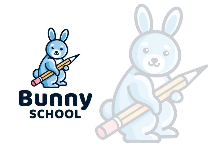 Thumbnail for Bunny School Kids Logo Template