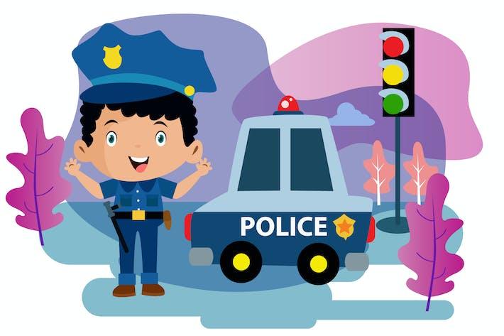 Thumbnail for Little Police - Vector Kids Illustration
