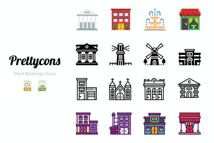 Cover Image For Prettycons - 160 Buildings Icons Vol.1