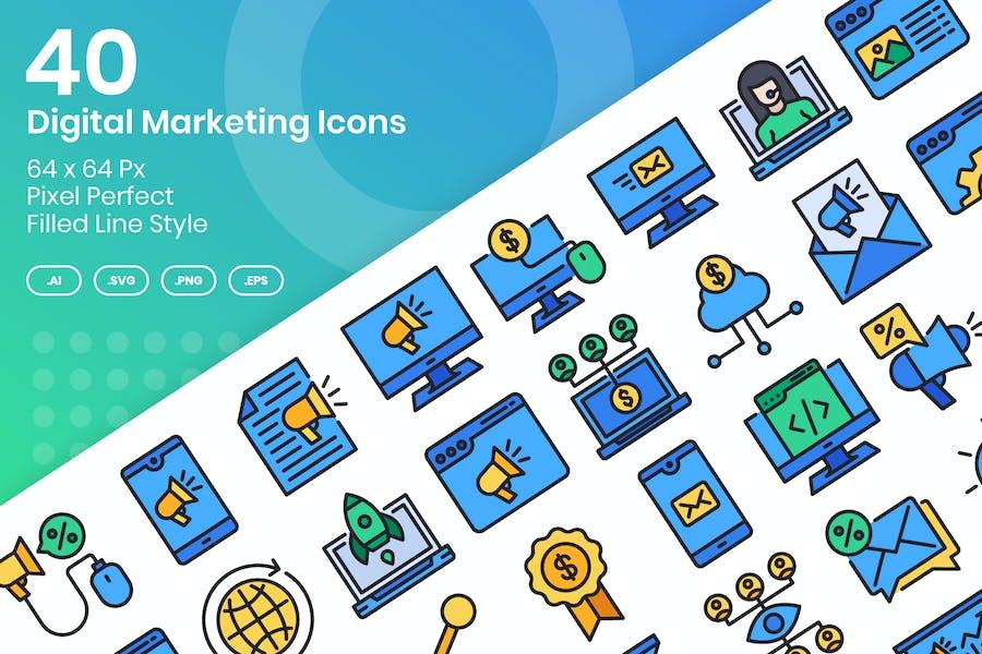 Conjunto de 40 Íconos de marketing digital - Línea llena