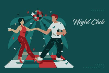 Weekend - Night Club Scene Illustration